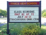 A class reunion sign just for us. They included the classes of 1947, 1967, and 1972 just to be polite.