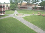 The outside courtyard walkways. The middle is where the tree used to be.