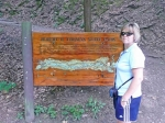 Robert Treman (aka Enfield) State Park. [Terri Holland] pointing out the sign.