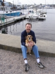 From Peter Eldridge: This is not my wife... Benny is an Irish Hedgehound.  The water is Mystic Harbor, CT.  Noelene is m