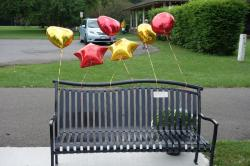 The front of Rita's beautiful bench